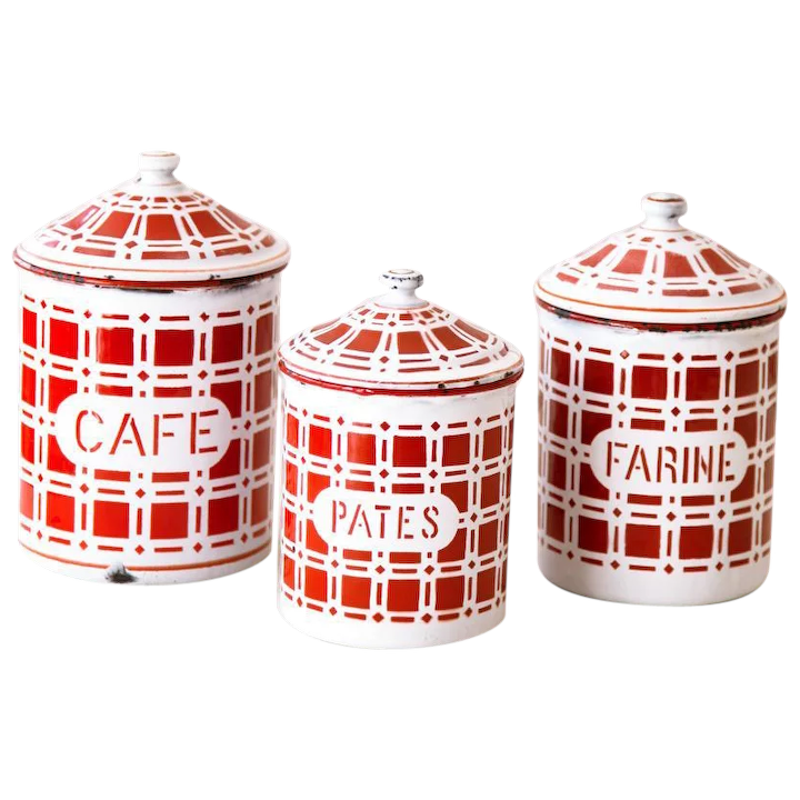 1930s French Enamel Canisters - Set of 3 - Cheerful Red and White Checkered  Pattern - Country Kitchen Decor