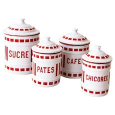 1930s French Enamel Canisters - Set of 4 - Cheerful Red and White Stripes Pattern - Country Kitchen Decor