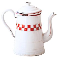 1930s French Enamel Coffee Pot - White with Red Checkered Pattern - Lustucru Pattern - French Country Kitchen