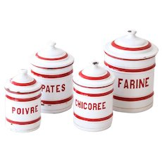 1930s French Enamel Canisters - Set of 4 - Cheerful Red and White Lines Pattern - Country Kitchen Decor