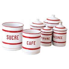 1930s French Enamel Canisters Without Tops - Set of 2 - Cheerful Red and White Lines Pattern - Country Kitchen Decor