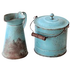 Vintage French Tin Bucket and Pitcher Set - Toy Size - Pretty Turquoise Blue - Shabby Chic Decor