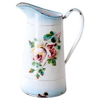 1940s French Enamel Water Pitcher - Japy - Pretty Roses Flower - French Country Decor