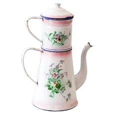 Vintage french small blue enamel coffee pot lustucru checkered 1920s french enamel double coffee pot pink enamel with pretty flowers mightylinksfo