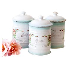 Rare - 1920s French Japy Enamel Breakfast Canisters - Sugar, Coffee and Chicory - Pretty Pansies - Shabby Chic Kitchen