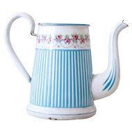 Vintage French Enamel Coffee Pot - Art Deco 1920s - BB Frères Turquoise Blue - No Lid