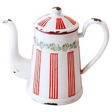 French Vintage Enamel Coffee Pot - Art Deco 1920s - BB Frères Red Stripes