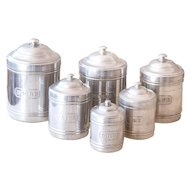 6 Vintage French Aluminum Nesting Canisters - Country and Farmhouse Decor - Cleaned