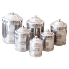 6 Vintage French Aluminum Nesting Canisters - French Country and Farmhouse Decor - Cleaned