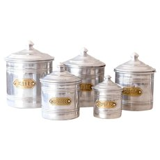 5 Vintage French Aluminum Nesting Canisters With Brass Plates - French Country and Farmhouse Decor - Cleaned