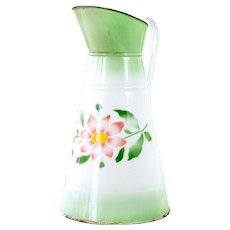 1940s Enamel Water Pitcher - Green and Pink with Pretty Flowers - Made in Germany