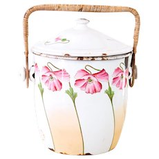 Vintage French Enamel Bucket with Lid - 1940s - Pretty Pink Poppies Flowers - French Cottage Decor
