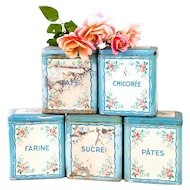 Vintage French Kitchen Tin Canisters - Set of 5 - Pretty Turquoise and Sweetheart Roses - French Cottage Kitchen Decor