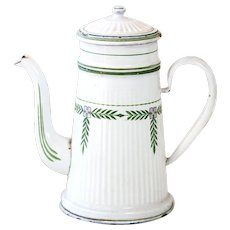 1930s French Enamel Coffee Pot - BB Frères Torseine - Country DecoR