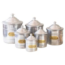 6 Vintage French Aluminum Nesting Canister - Aluminum and Brass - Shabby Chic and Mid Century Kitchen