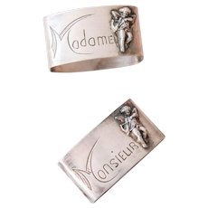 2 Vintage French Pewter Napkins Ring - Madame & Monsieur - Cupid Angels - Shabby French Table