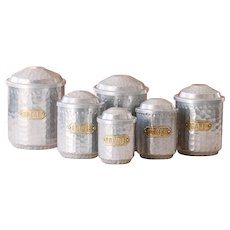 6 Vintage French Aluminum Nesting Canisters - Hammered Aluminum and Brass - Shabby Chic and Mid Century Kitchen
