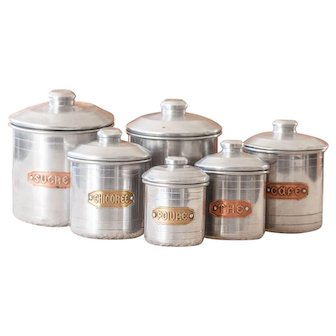 6 Vintage French Aluminum Nesting Canister - Aluminum, Brass and Copper - Shabby Chic and Mid Century Kitchen