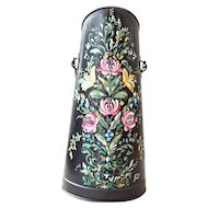 Vintage French Charcoal Bucket - Hand Painted with Pretty Flowers - Shabby Chic Decor
