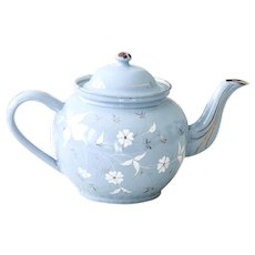 1930s French Enamel Teapot - Sweet Blue with White and Gold Flowers - Large Size - Shabby Chic Kitchen