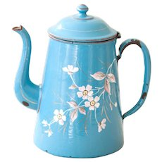 1930s French Enamel Coffee Pot - Blue with White and Pink Flowers - Shabby Chic Kitchen