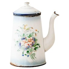 1930s French Enamel Coffee Pot / Chocolate Warmer with Wooden Handle - Japy - Roses and Pansies - French Shabby Kitchen