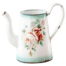 Pretty Vintage French Enamel Coffee Pot - Topless - Roses and Pansies - 1930s - Shabby Chic Kitchen Decor