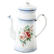 1930s French Enamel Double Coffee Pot - Japy - Roses and Pansies - French Shabby Kitchen