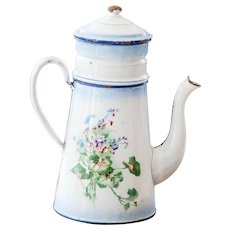 1930s French Enamel Double Coffee Pot - Japy - Pansies Flowers - French Shabby Kitchen