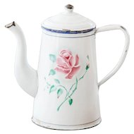 1930s French Enamel Coffee Pot - Japy - Sweetheart Roses - French Shabby Kitchen