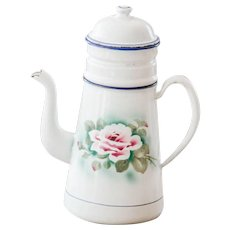1930s French Enamel Double Coffee Pot - Sweetheart Roses - French Shabby Kitchen