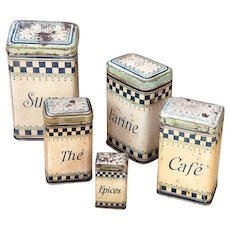 1920s French 5 Tin Nesting Canisters - Art Deco Lustuctu Checkered Pattern - Shabby Chic