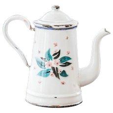 1930s French Enamel Small Coffee Pot - Pretty Roses - French Shabby Kitchen