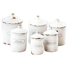 Complete Set of 6 French Vintage Enamel Canisters - Art Deco 1930s - BB Freres Austria - Shabby Chic White