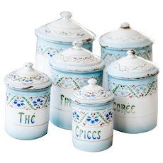 Complete Set of 6 French Vintage Enamel Canisters - Art Deco 1930s - Japy Freres - Shabby Chic White and Blue