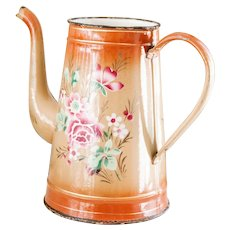 1930s French Enamel Topless Coffee Pot - Brown with Pink Flowers - Shabby Chic Kitchen