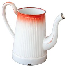 1930S French Enamel Topless Coffee Pot - White and Orange - Country Chic Kitchen