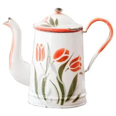 1930s French Enamel Coffee Pot - Cheerful Tulips - Country Kitchen Decor