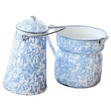 2 Vintage French Enamel Milk jug - Lavender Blue Graniteware - Country Decor