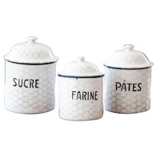 3 French Vintage Enamel Canisters - 1940s - Shabby Chic White