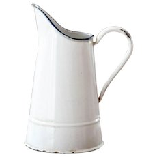Lovely Small 1940s French Pitcher - Shabby Chic White