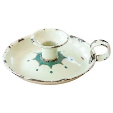 1930s French Enael Candle Holder - Pistachio Green - Hand Painted Details