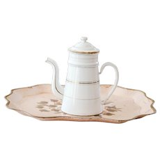 Vintage French Enamel Coffee Pot  - White and Gold - Shabby Chic Country Kitchen