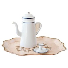 1940s French Enamel Coffee Pot and Candle Holder - Shabby Chic White