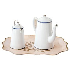 1940s French Enamel Coffee Pot and Mil Jar - Shabby Chic White