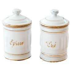 1930s French Canisters - Set of 2 - Spices and Tea - White and Gold Shabby Chic Kitchen Decor - Toy size