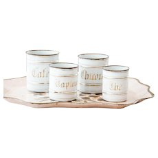 1930s French Enamel Nesting Canister Set - Set of 4 - Topless Canister Set - White and Gold - Shabby Chic French Kitchen