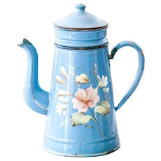 1930s French Enamel Coffee Pot - Pretty Bleu and Flowers Design - Coffee Pot With Filter