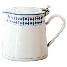 1930s French Enamel Milk Warmer - Beige and Blue Lozenge Pattern - Shabby Chic Kitchen
