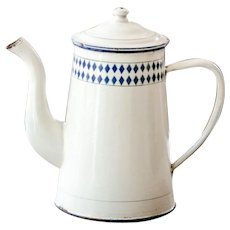 1930s French Enamel Coffee Pot - Beige and Blue Lozenge Pattern - Shabby Chic Kitchen